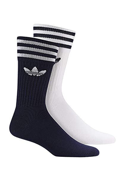 Adidas Solid Crew 2PP Calcetines, Unisex Adulto, azuosc/Blanco, 39/42
