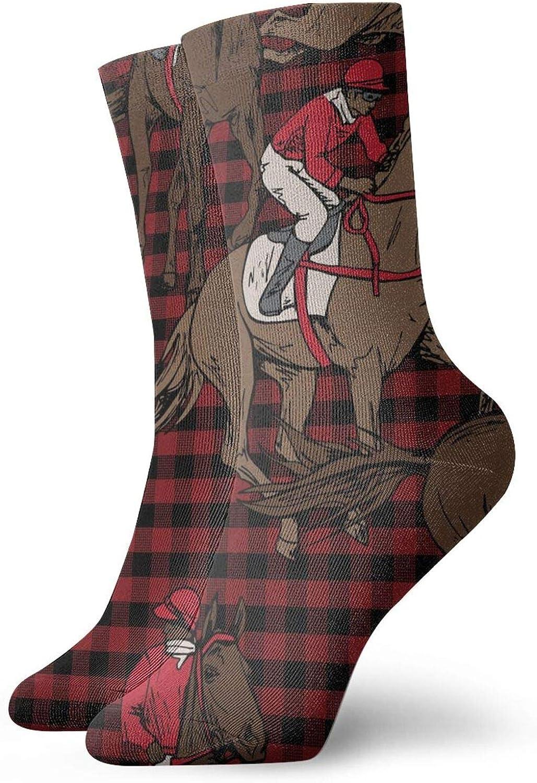 Caballo de carreras con cuadros rojos Hombres Mujeres Trabajo para todas las estaciones Botas cortas Calcetines deportivos Calcetines cortos para correr Calcetines de trabajo para hombres y mujeres