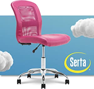 Serta Essential Mesh Low-Back Computer Desk Task Chair with No Arms for Home Office or Conference Room, Faux Leather, Pink