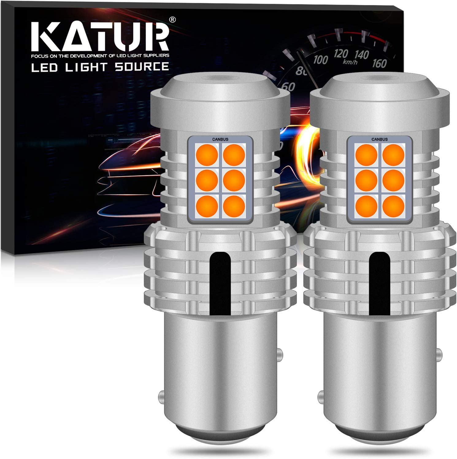 KATUR 1157 BAY15D P21//5W 1034 7528 LED Bulbs Super Bright 12pcs 3030 /& 8pcs 3020 Chips Canbus Error Free Replace for Turn Signal Reverse Brake Tail Stop Parking RV Lights,Amber Yellow Pack of 2