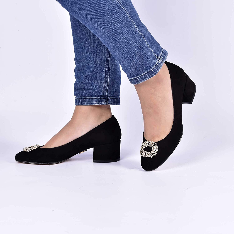 ANNA MILAN Damen Blockabsatz Schwarzen Schwarzen Schwarzen Wildleder-Schuhe Mit niedrigem Absatz und Swarovski - Agata d8aabb