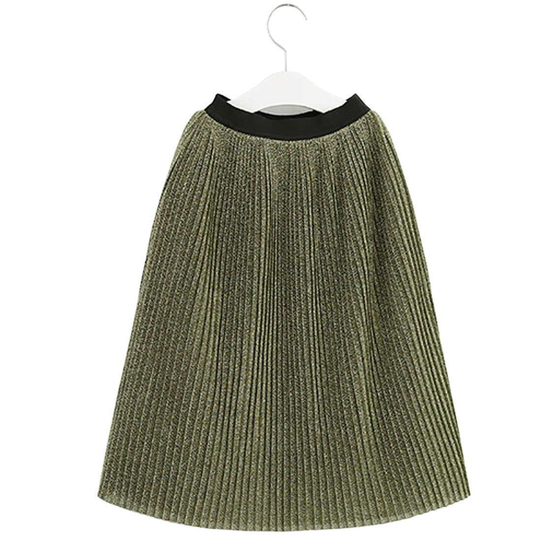 ACVIP Girl's Pleated Elastic Shimmering Metallic Medi Skirt Atrovirens (8-9 Years)
