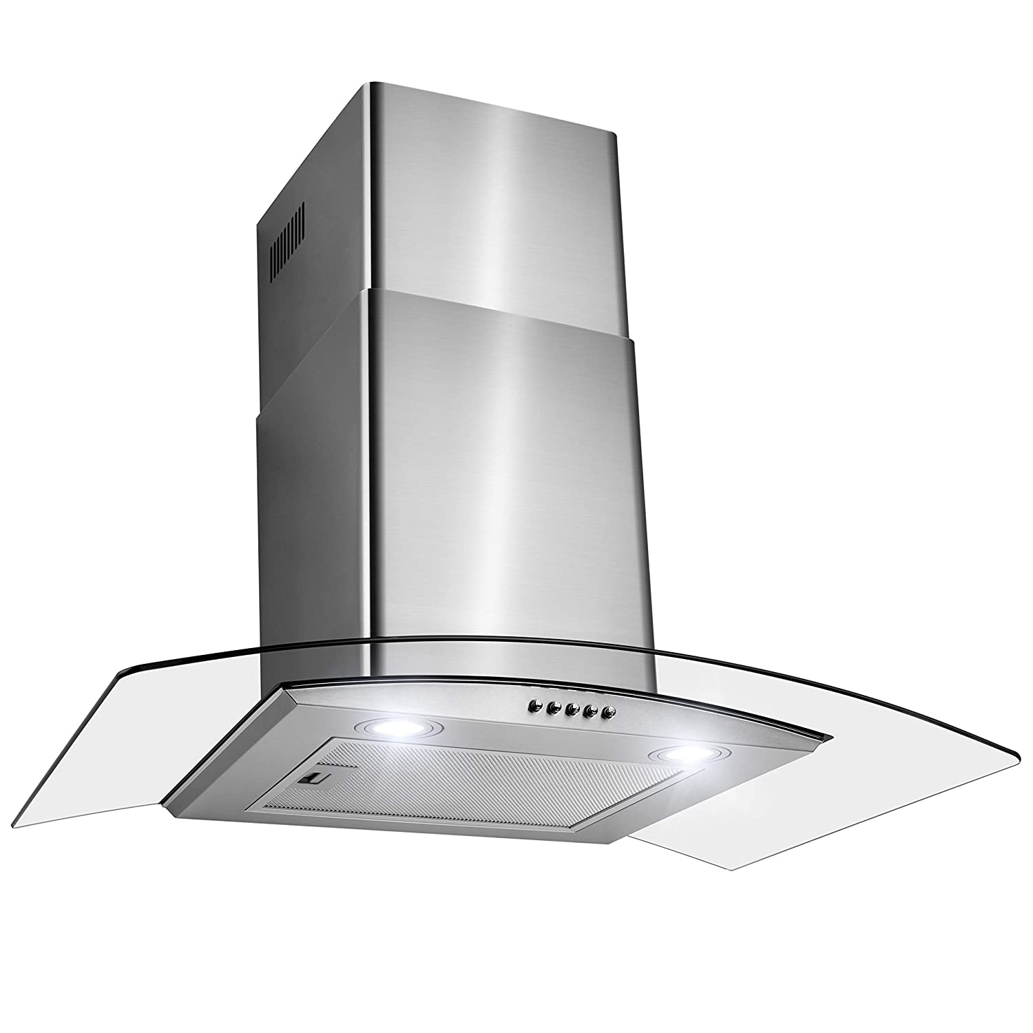 FIREBIRD 30 Wall Mount Stainless Steel Tempered Glass Wall Mount Powerful Push Button Control Kitchen Vent Fan Range Hood FB-RH0370