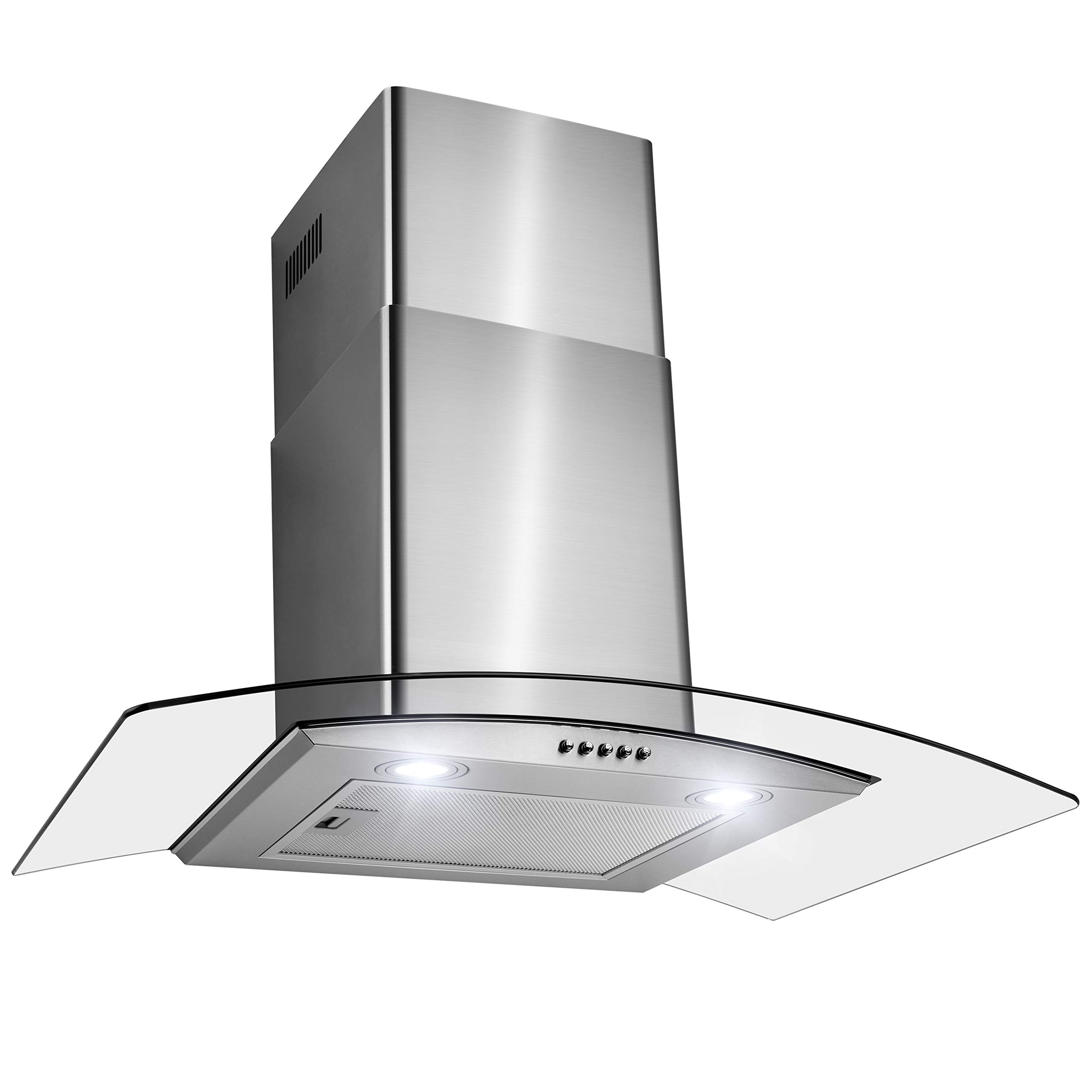 FIREBIRD 30'' Wall Mount Stainless Steel Tempered Glass Wall Mount Powerful Push Button Control Kitchen Vent Fan Range Hood