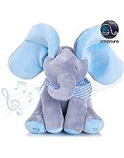 Aminiture peek a Boo Elephant Soft Stuffed Plush Toys Animated Talking and Singing Elephant Toys for Baby Kids Gifts 12'' (Blue Elephant)