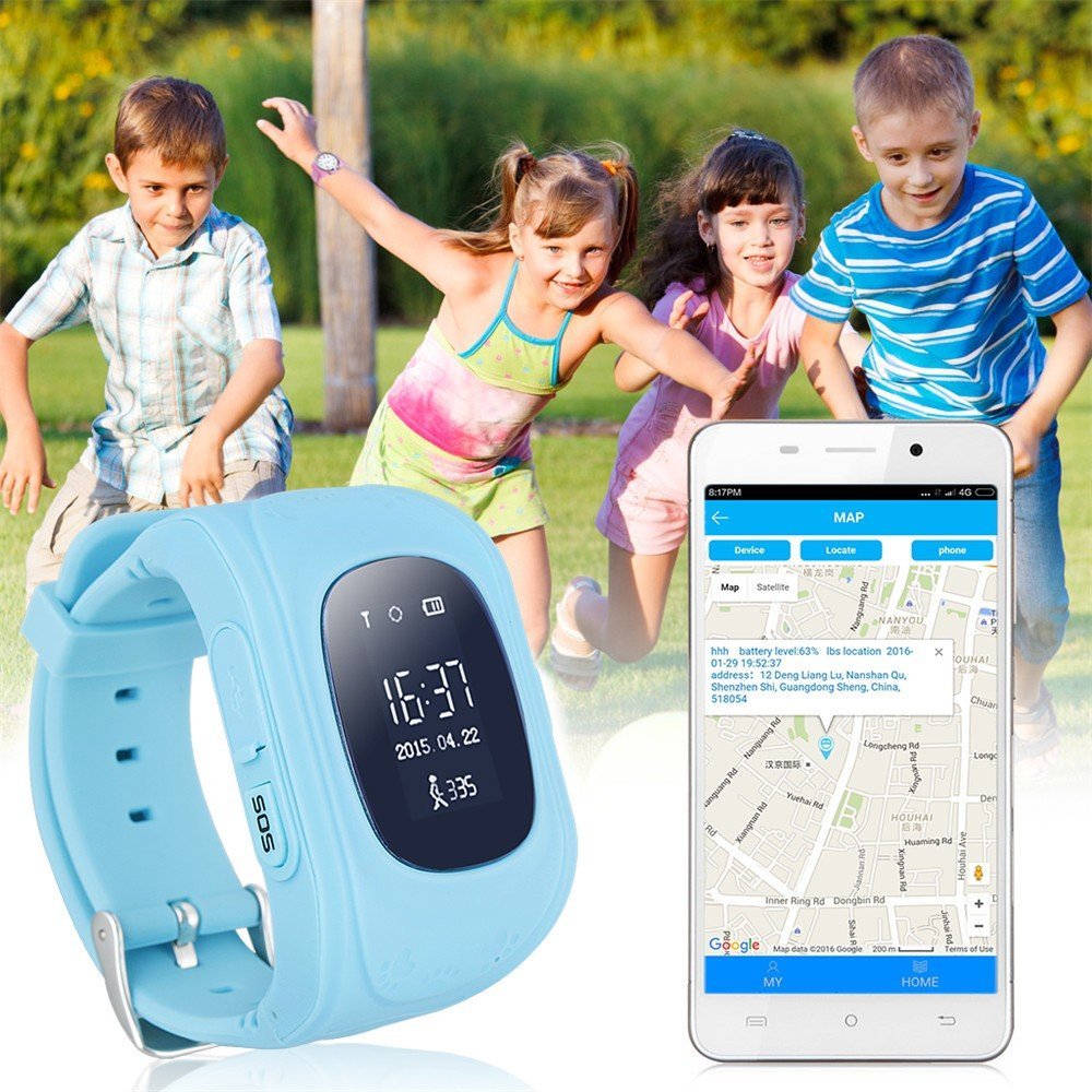 JUNEO Q50 GPS Tracker Smartwatch Anti Lost SOS Call WristWatch Children Finder Fitness Pedometer Wristwatch SOS Calling Location Remote Monitor (Blue) by TK-STAR (Image #1)
