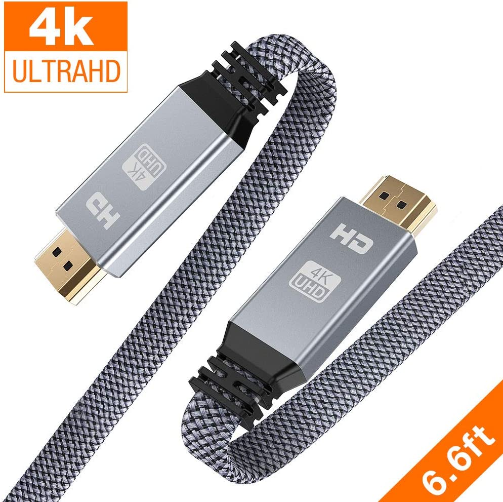 HDMI Cable 6.6ft (4K 60HZ, HDMI 2.0, 18Gbps), Snowkids 4K Flat High Speed HDMI 2.0 Cable Braided HDMI Cord, Support 3D 4K HDR 2160P 1080P ARC Ethernet,Apple TV 4K Fire TV PS4/PS3 Roku Projector-Gray