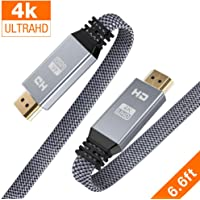 HDMI Cable 6.6ft (4K@60Hz, HDMI 2.0, 18Gbps), Snowkids 4K Flat High Speed HDMI 2.0 Cable Braided HDMI Cord, Support 3D 4K HDR 2160P 1080P ARC Ethernet,Apple TV 4K Fire TV PS4/PS3 Xbox Projector-Gray