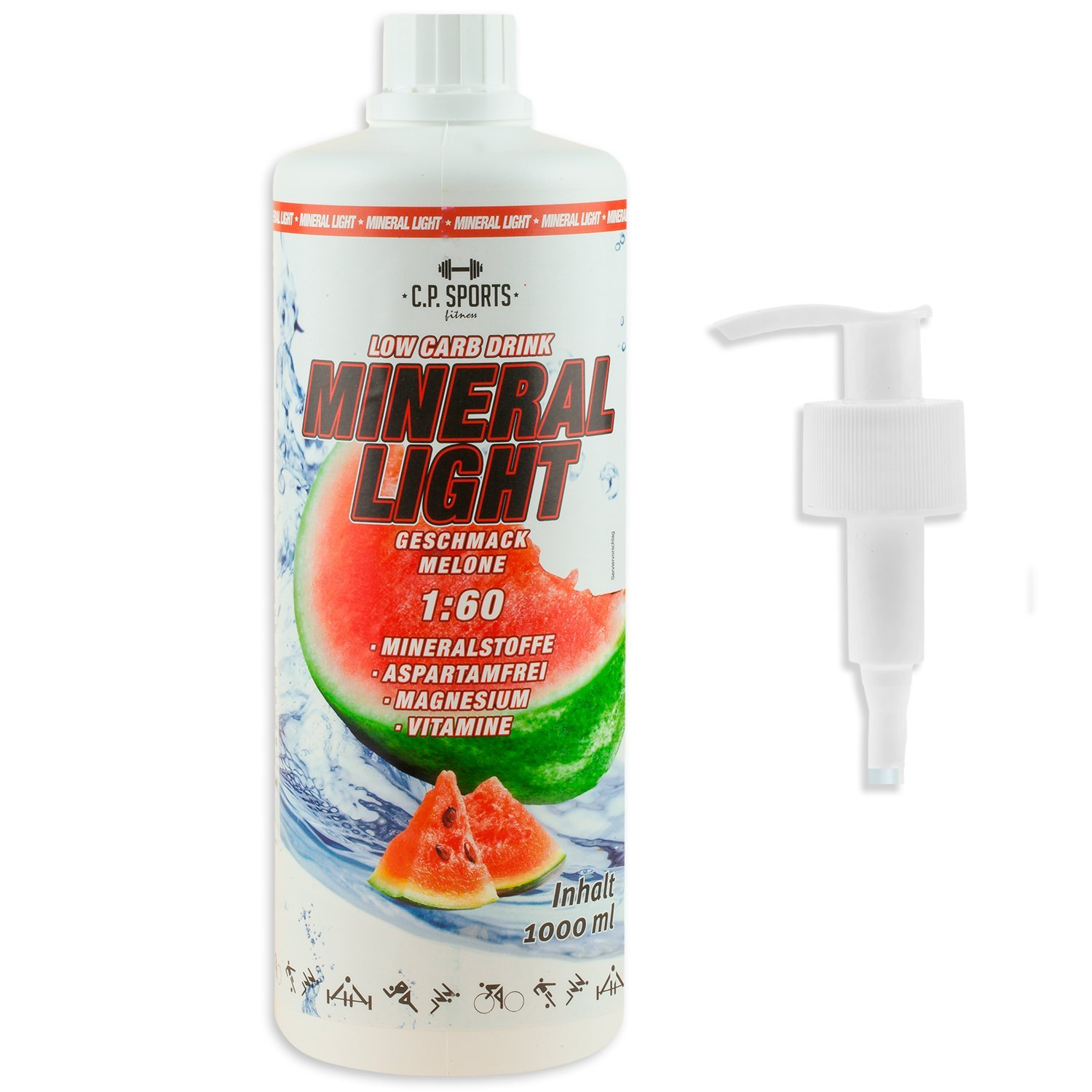 C.P. Sports Mineral Light - Concentrado de bebida de sirope de electrolitos, mineral y vitaminas, varios tipos, incluye dispensador, 1l/1000ml, melón: ...
