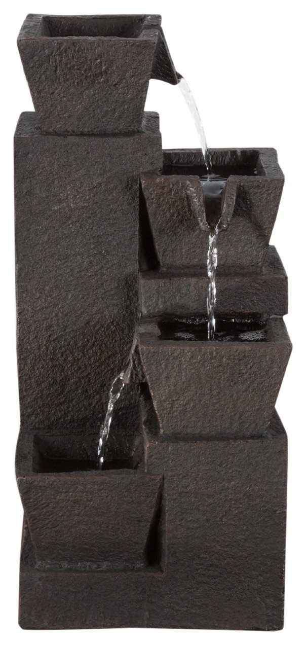"Tabletop Water Fountain With 4 Tier Modern Design and LED Lights - Square Table Fountain by Pure Garden (Brown) (Office, Patio and Home DÃcor) - DURABLE DESIGN - Enjoy your house, work or deck décor without worry. Made from sturdy polyresin material, this fountain is lightweight and durable for longer lasting use LOW MAINTENANCE AND EASY SET UP- Pure Garden water fountains require no additional plumbing, stressful setup, or upkeep. Including a UL listed pump with 42 gallons per hour maximum flow, all you need to do after assembly is fill it with the proper amount of water, and plug it in to a standard electrical outlet, and you are ready to enjoy the delightful sounds of nature. PRODUCT DETAILS - Fountain dimensions: 15.25"" H x 7"" W x 6.25"" L. Material: Polyresin. Weatherproof. Pump Included. Adjustable Valve. Voltage: 120V. Wattage: 2W. Certifications and Listings: UL. Prelit: 3 LED lights. Cord Length: 59"" - patio, outdoor-decor, fountains - 71 ZcbJuINL -"
