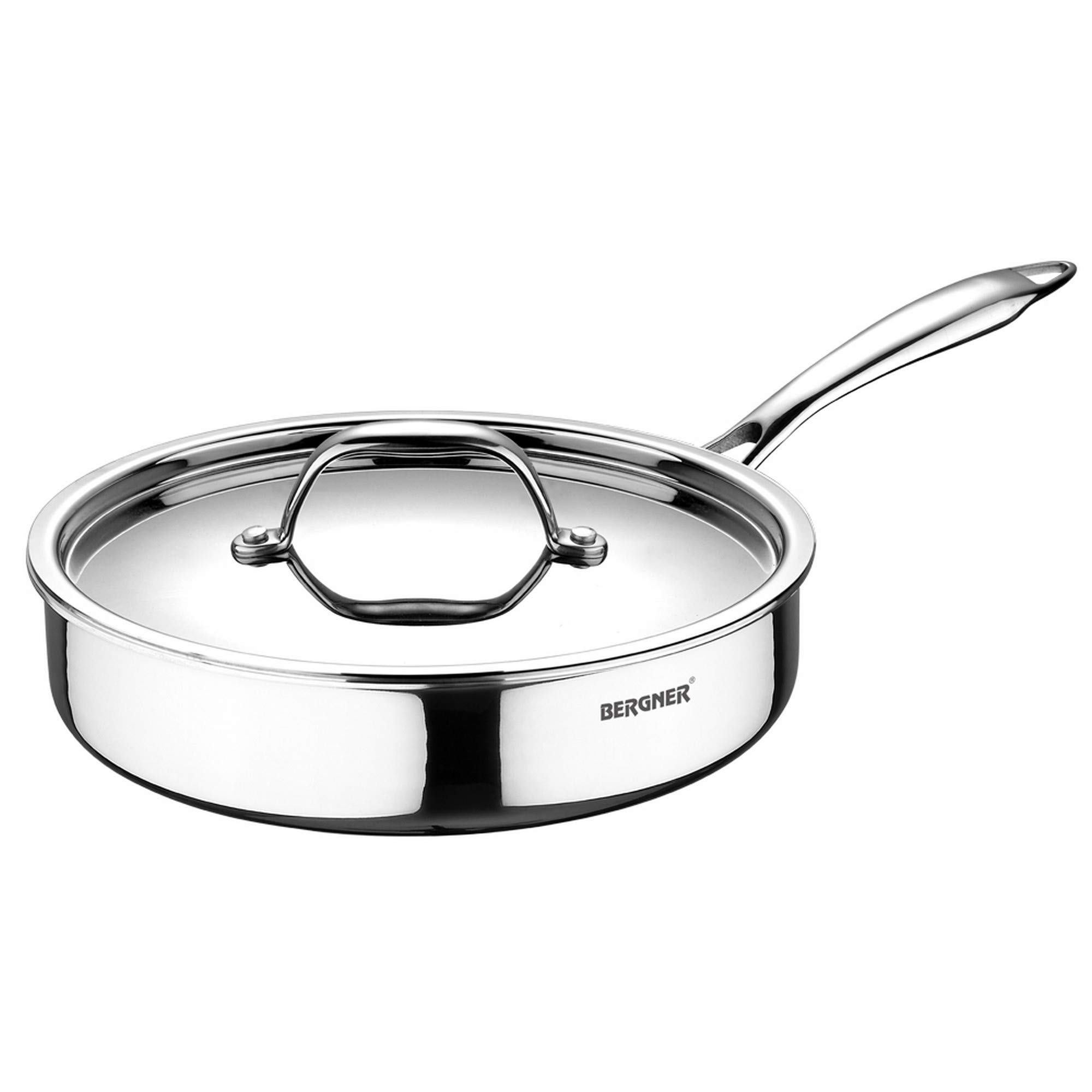 BERGNER Argent Triply Stainless Steel Sautepan with Stainless Steel Lid, 26 cm, 3.1 Litres, Induction Base, Silver
