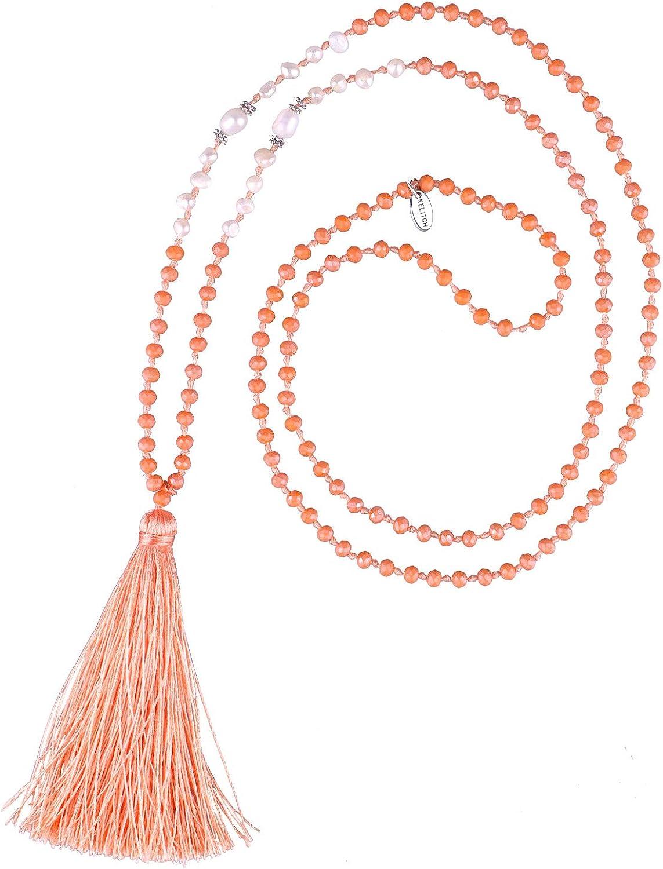 KELITCH Collar De Perlas con Borlas para Mujer Collar De Cuentas De Cristal Collar con Forma De Y Brillante Collar 2020