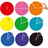 Big Magnetic Fraction Circles, Laminated and Reusable (9 Circles, 7.8 inches)