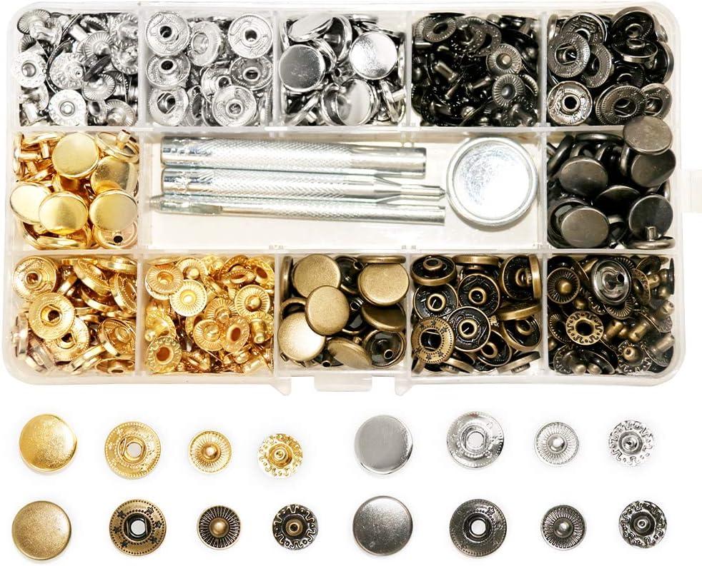 SUNTATOP 140 - Cierres metálicos Ajustables de 12,5 mm, 4 Colores, Botones de presión de Metal con 4 Herramientas de fijación para Coser y Hacer ...