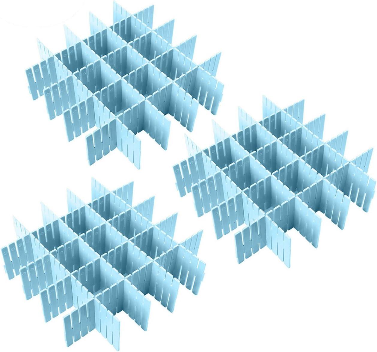 Calcetines Sujetadores Azul Ropa Interior Coralpearl Separadores de Cajones de Pl/ástico para Escritorio Bufandas Cubiertos de Cocina Camisetas Organizador de Almacenamiento para Corbatas