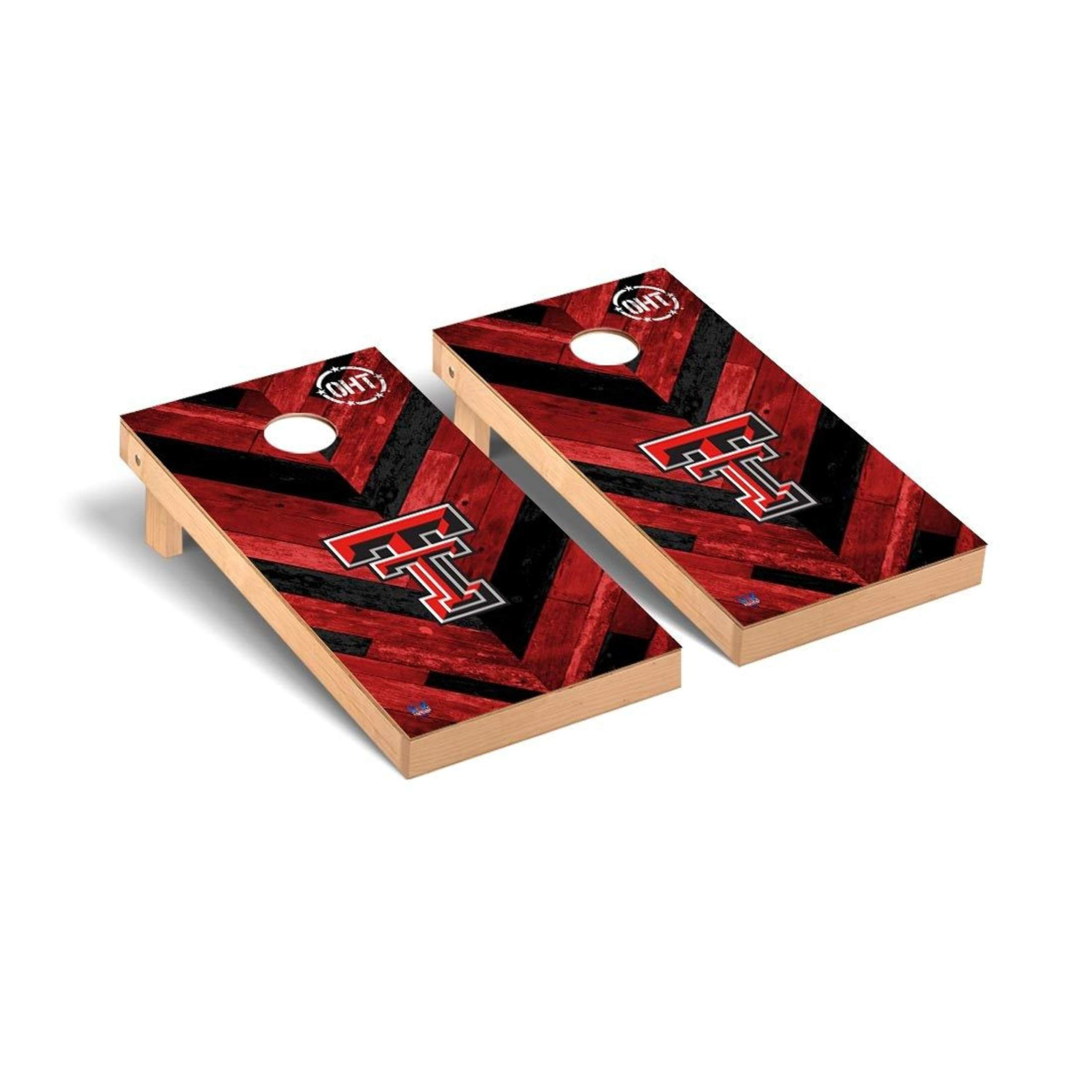 Victory Tailgate Texas Tech Red Raiders OHT NCAA - Herringbone Design Cornhole Board Set - 2 Boards, 8 Bags