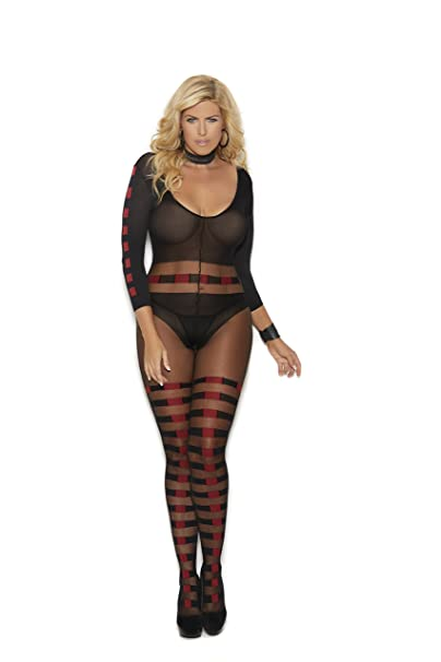 ccd608e0b29 Sheer and Opaque Long Sleeve Bodystocking with Red and Black Checkered  Horizontal Stripes and an Open