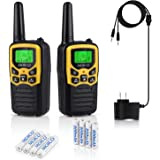 Professional Rechargeable Walkie Talkies,MOICO Long Range Two Way Radios for Adults up to 5 Miles in Open Area,Handheld Talkies Talky with 22 Channels FRS/GMRS VOX Scan LCD Display LED Flashlight