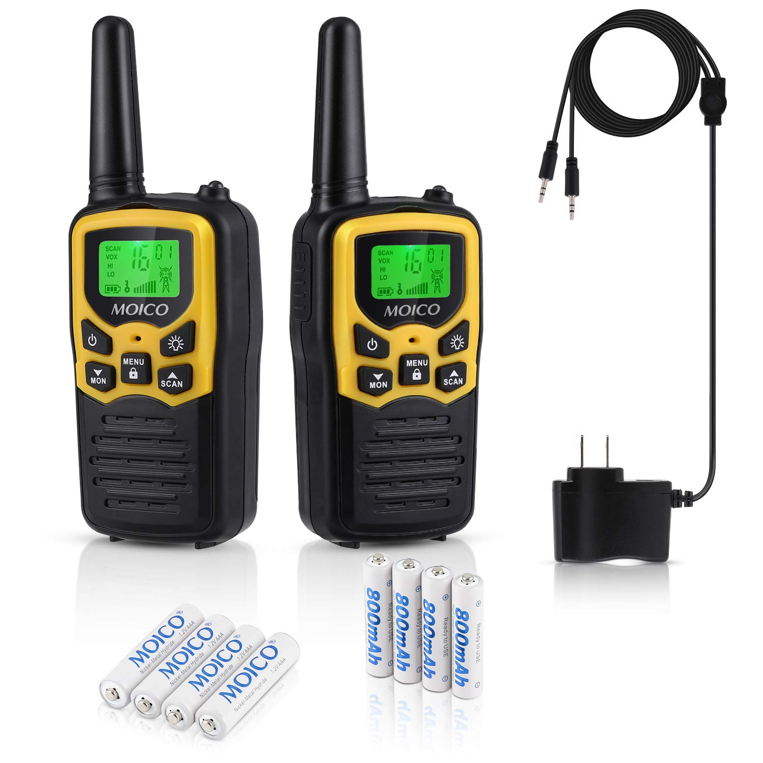 Professional Rechargeable Walkie Talkies,MOICO Long Range Two Way Radios for Adults up to 5 Miles in Open Area,Handheld Talkies Talky with 22 Channels FRS/GMRS VOX Scan LCD Display LED Flashlight by MOICO