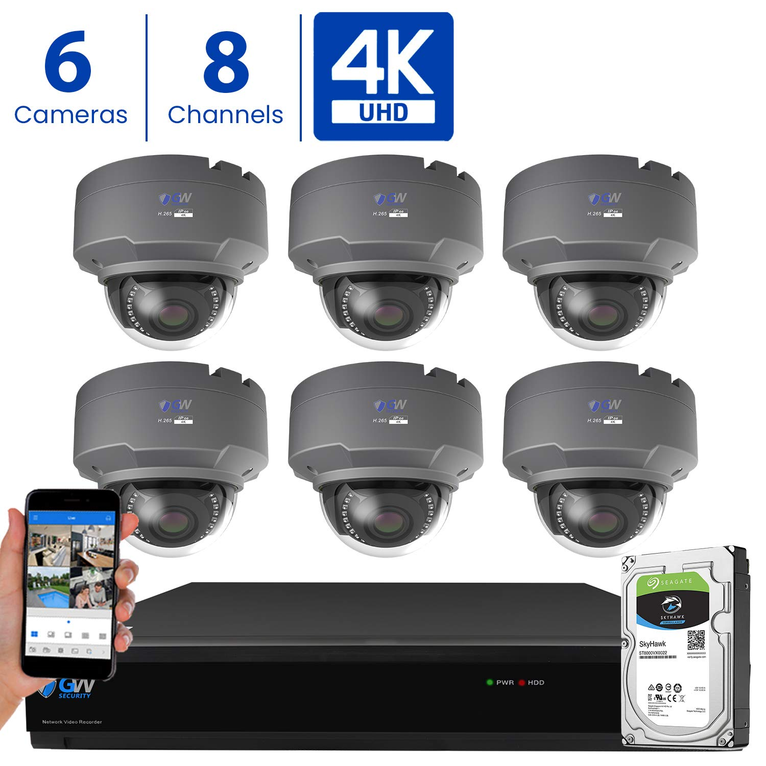 GW 8 Channel 4K H.265 CCTV DVR Security Camera System with 6 x UHD 8MP 2.8-12mm Varifocal Zoom 4K Dome Surveillance Cameras and 2TB HDD, Free Remote View, Motion Alert with Snapshot