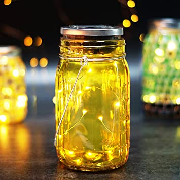 bright zeal solar led decorative jars with lids and starry led string lights 7 - Decorative Jars