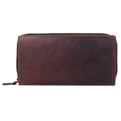 STILORD Dana Cartera para mujeres piel vintage monedero grande maletín horizontal cremallera billetera para