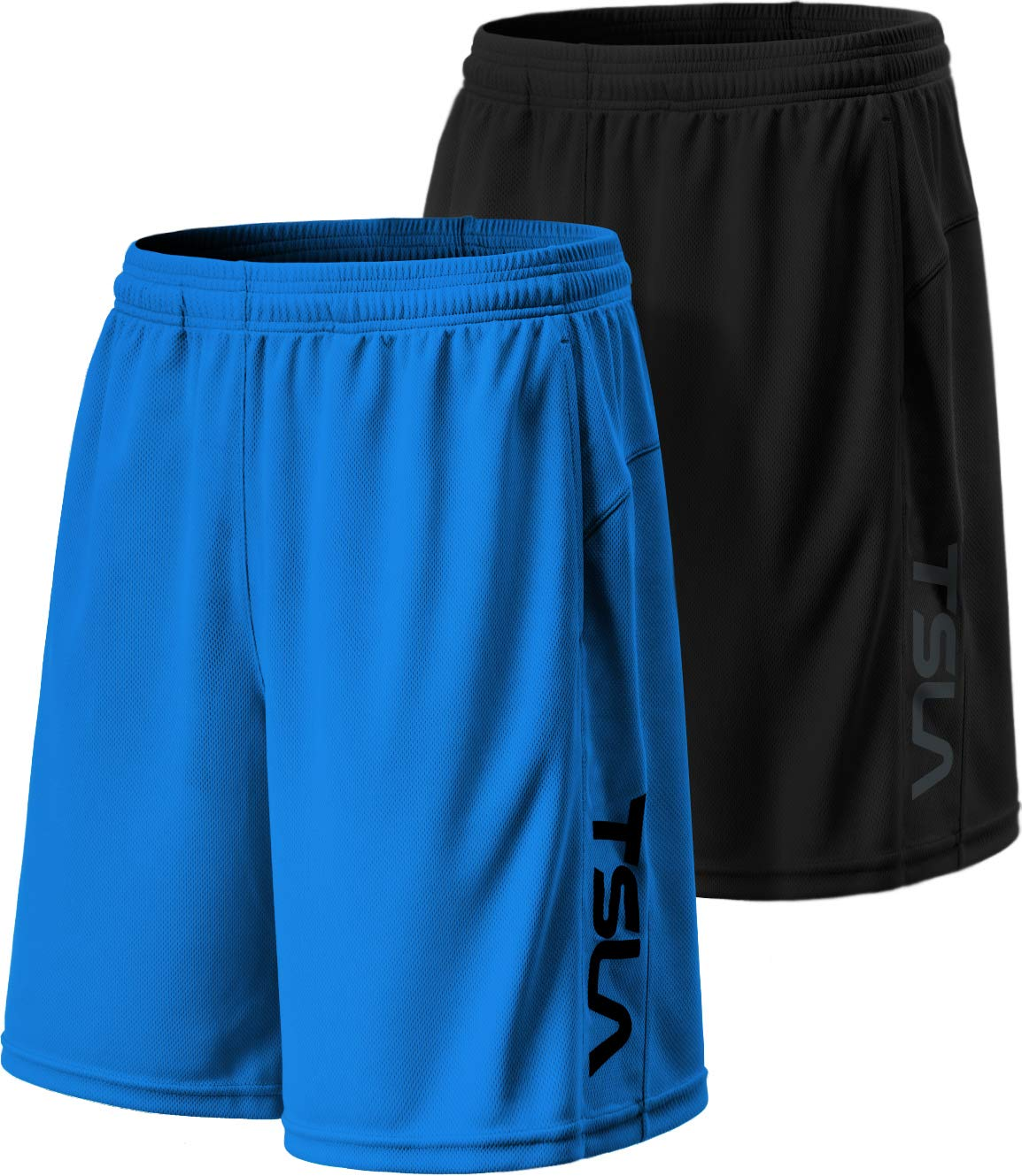 TSLA Men's HyperDri Cool Quick-Dry Active Lightweight Workout Performance Shorts (Pack of 2), Hyper Dri Dual Pack(mbh22) - Black/Sky, X-Small