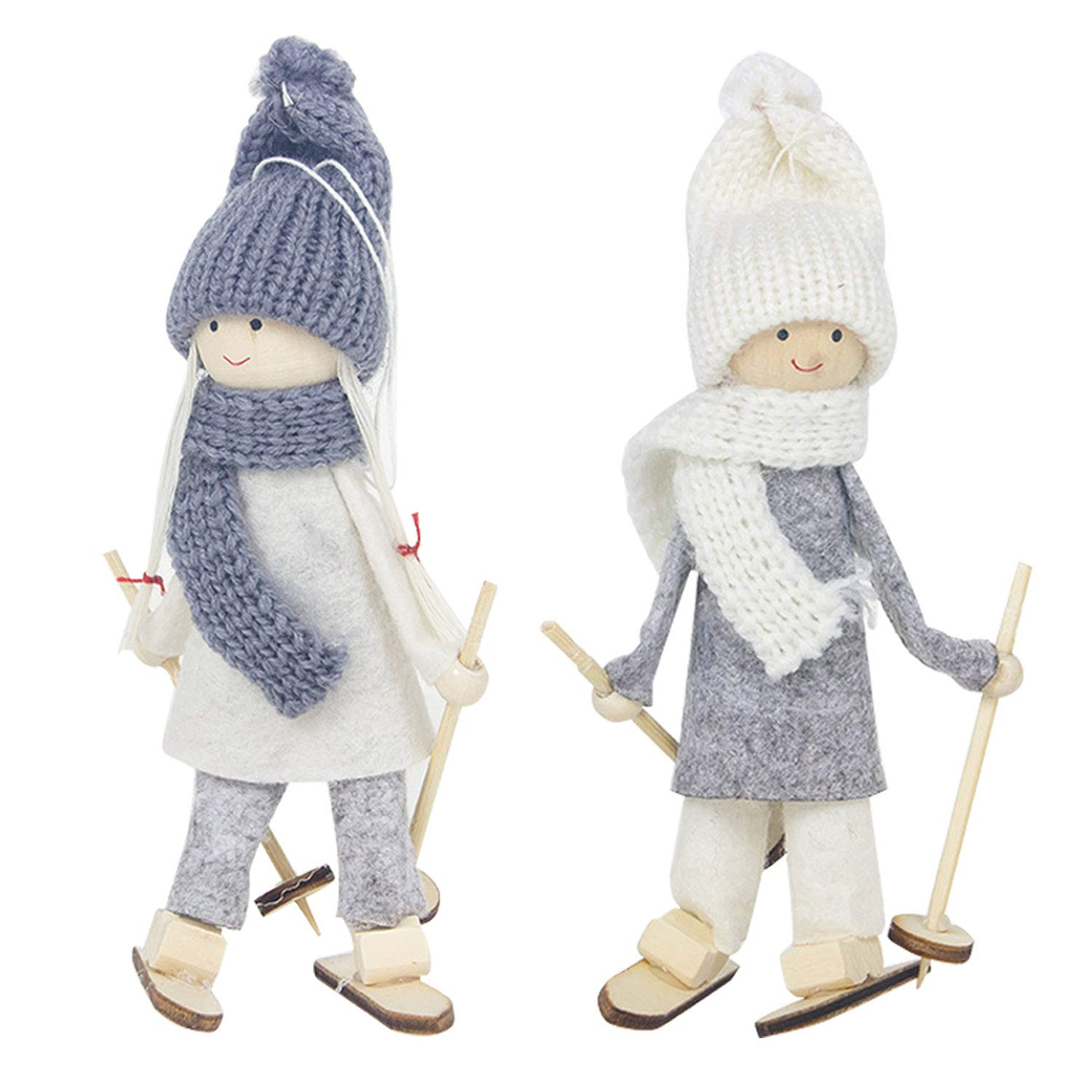 2pcs Small Cute Lovely Christmas Wool Ski Dolls Hanging Ornaments Home Xmas Christmas Tree Pendant Decorations Style B Migavan