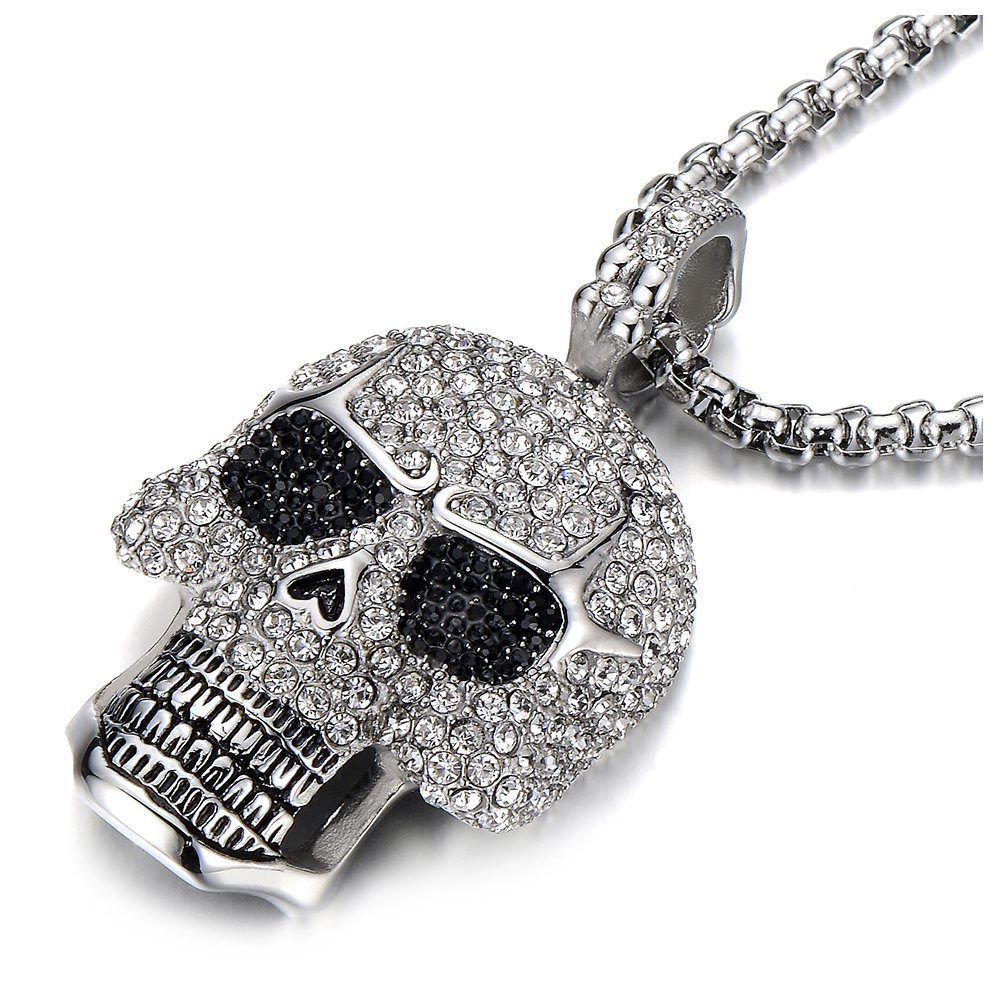 Steel Large Sugar Skull Pendant Necklace for Men Women with Cubic Zirconia and 30 inches Wheat Chain COOLSTEELANDBEYOND MP-402-CA