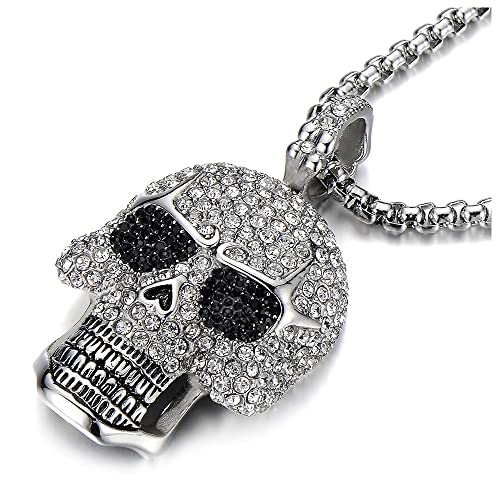 f3425d233583b Steel Large Sugar Skull Pendant Necklace for Men Women with Cubic Zirconia  and 30 inches Wheat Chain