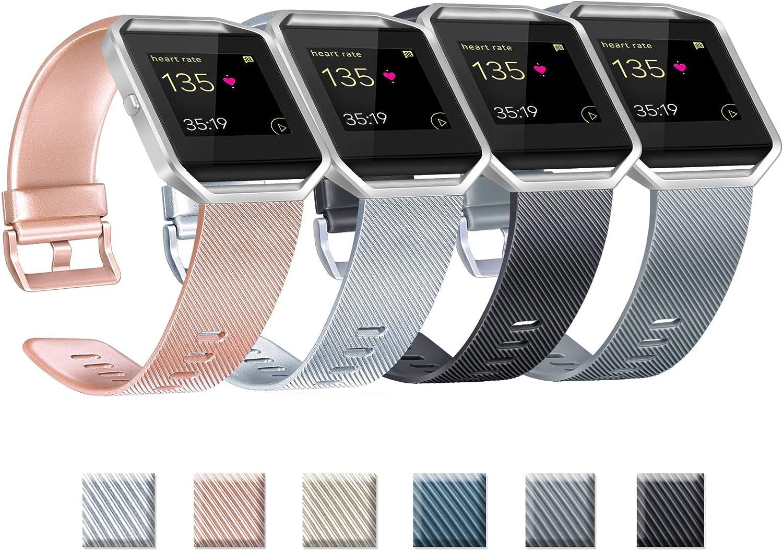 Yandu Correas de repuesto compatibles con Fitbit Blaze, no incluye Fitbit Blaze y marco (04 Rosegold+Silver+Black+Grey, S)