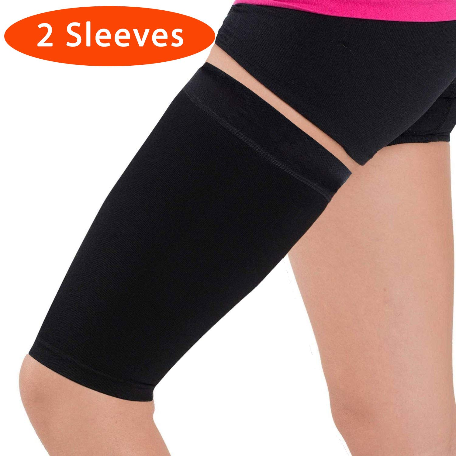 Thigh Compression Sleeve - Hamstring, Quadriceps, Groin Pull and Strains - Running, Basketball, Tennis, Soccer, Sports - Athletic Thigh Support (Single) (2 Sleeves - Black, L) by Pure Compression