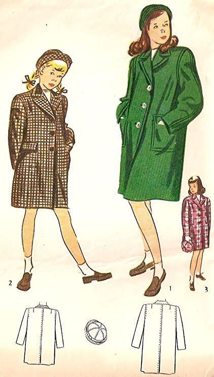 Amazon.com: Simplicity vintage 1940s sewing pattern 2353 coat and ...