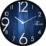 Regent Round Design Wall Clock For Office Bed Room Lobby Kitchen Stylish Wall Clocks Modern Design - Durable Wall Clock (Blue Stripes)