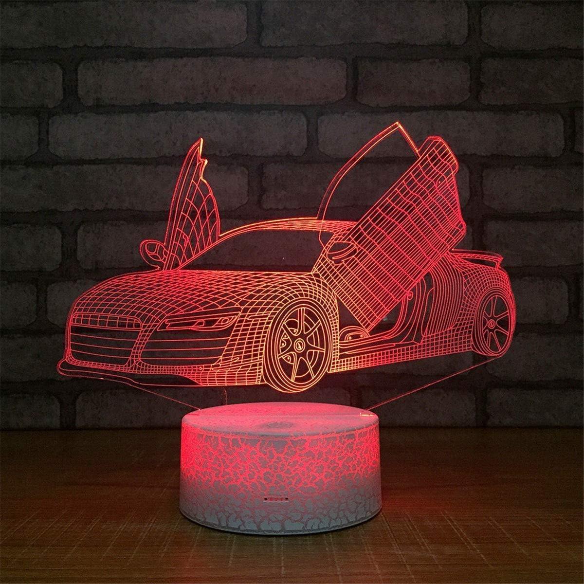 Lumi/ères Formule 1 Voiture De Course 3D Lampe Multicolore avec T/él/écommande pour Cadeau Danniversaire Aliment/é Par Batterie 3D Optique Led Veilleuse Lampe Hologramme