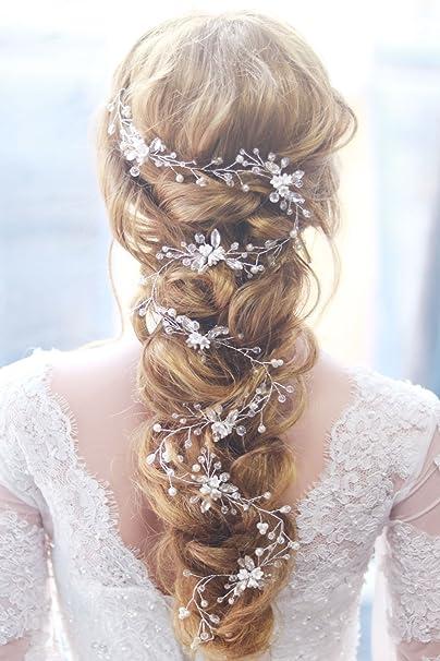 Missgrace Bridal Crystal Rhinstone Flower Silver Vintgae Hair Vine Headpiece  for Festival 8bebab8ab6a8