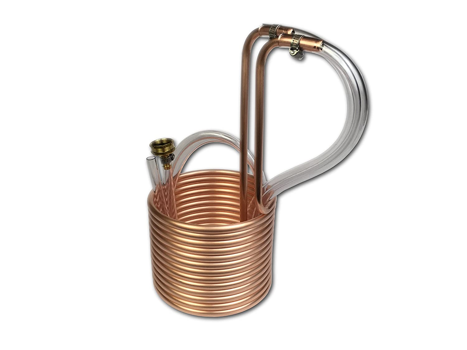 "COLDBREAK 25' Wort Chiller, 3/8"", 100% Pure USA Copper, 4' Vinyl Tubing, Heavy-Duty Garden Hose Fitting"