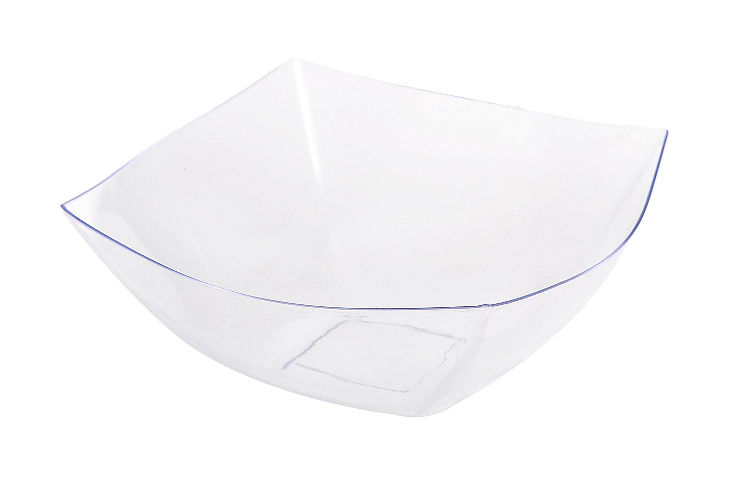 Blue Sky, Square Unbreakable Clear Plastic Serving Bowls, 64 Ounce, Set of 5, Party Snack or Salad Bowl.