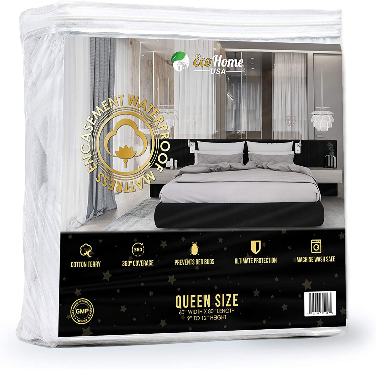 Waterproof Mattress Encasement Cover Queen Size Soft, Breathable Cotton Terry Fabric   Helps Prevent Bed Bugs, Dust Mites, Bacteria, Allergens   Repels Urine and Liquids   Ultra-Quiet
