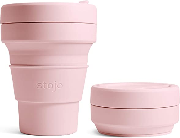 Stojo Collapsible Reusable Silicone Coffee Cup and Travel Mug, 12 oz, Pink