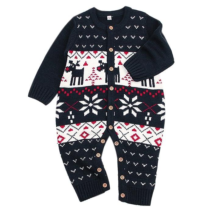 the latest e968a 30481 Funnycokid maglione bambino tutine neonato unisex bambino tutina appena  nato pagliaccetto manica lunga Natale maglioni cervo cotone pullover  lavorato ...