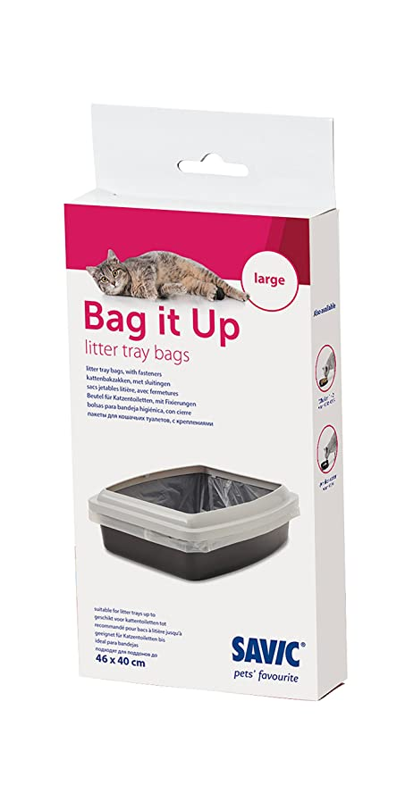 SAVIC Bag It Up - Revestimiento grande para bandeja de arena de gatos, 46 cm