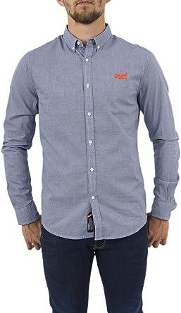 Superdry - Camisa casual - con botones - Manga larga - para hombre Azul Grid Check Blue Small: Amazon.es: Ropa y accesorios