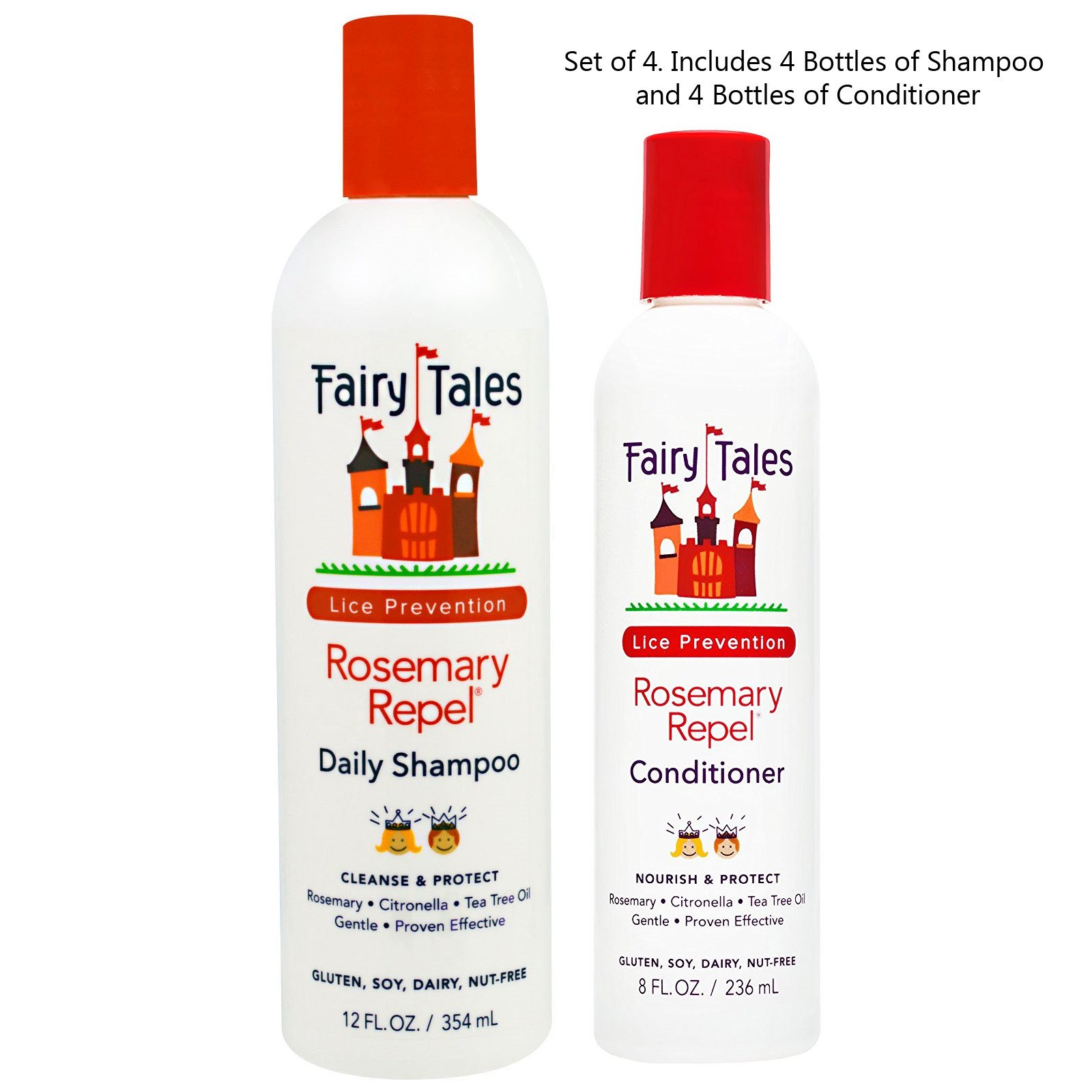 Fairy Tales Rosemary Repel Shampoo 12 oz and Conditioner 8 oz Set of Four Bottles Each by Fairy Tales