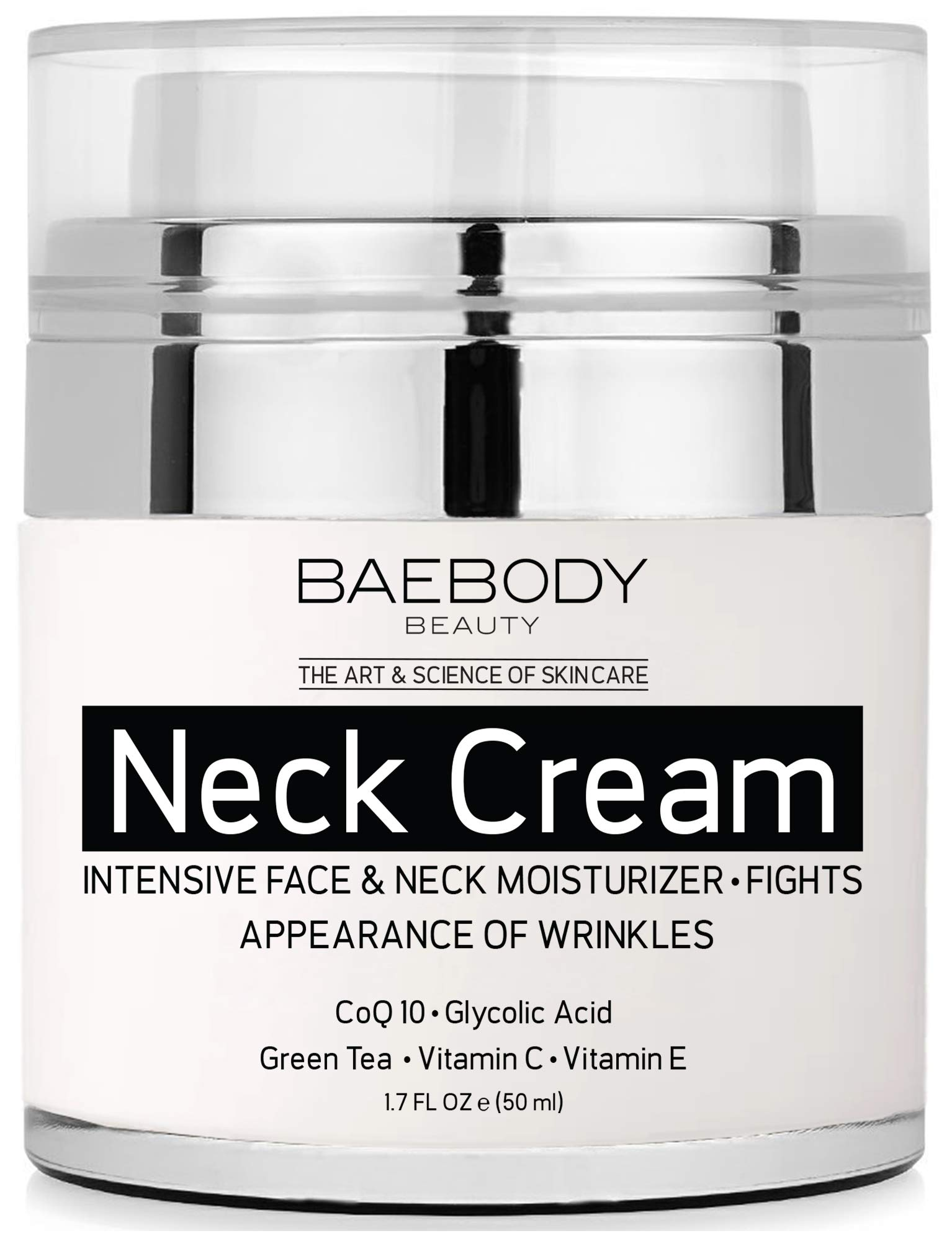 Baebody Neck Cream with AHAs, CoQ10, Glycolic Acid & Green Tea, 1.7 Ounces