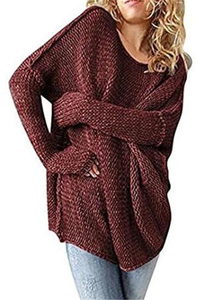 ... Manga Larga Color SÓLido Blusas Cuello Redondo Knitted Pulover Tallas Grandes Tops Suelto Oversize Sweater Bonitas Hipster: Amazon.es: Ropa y accesorios
