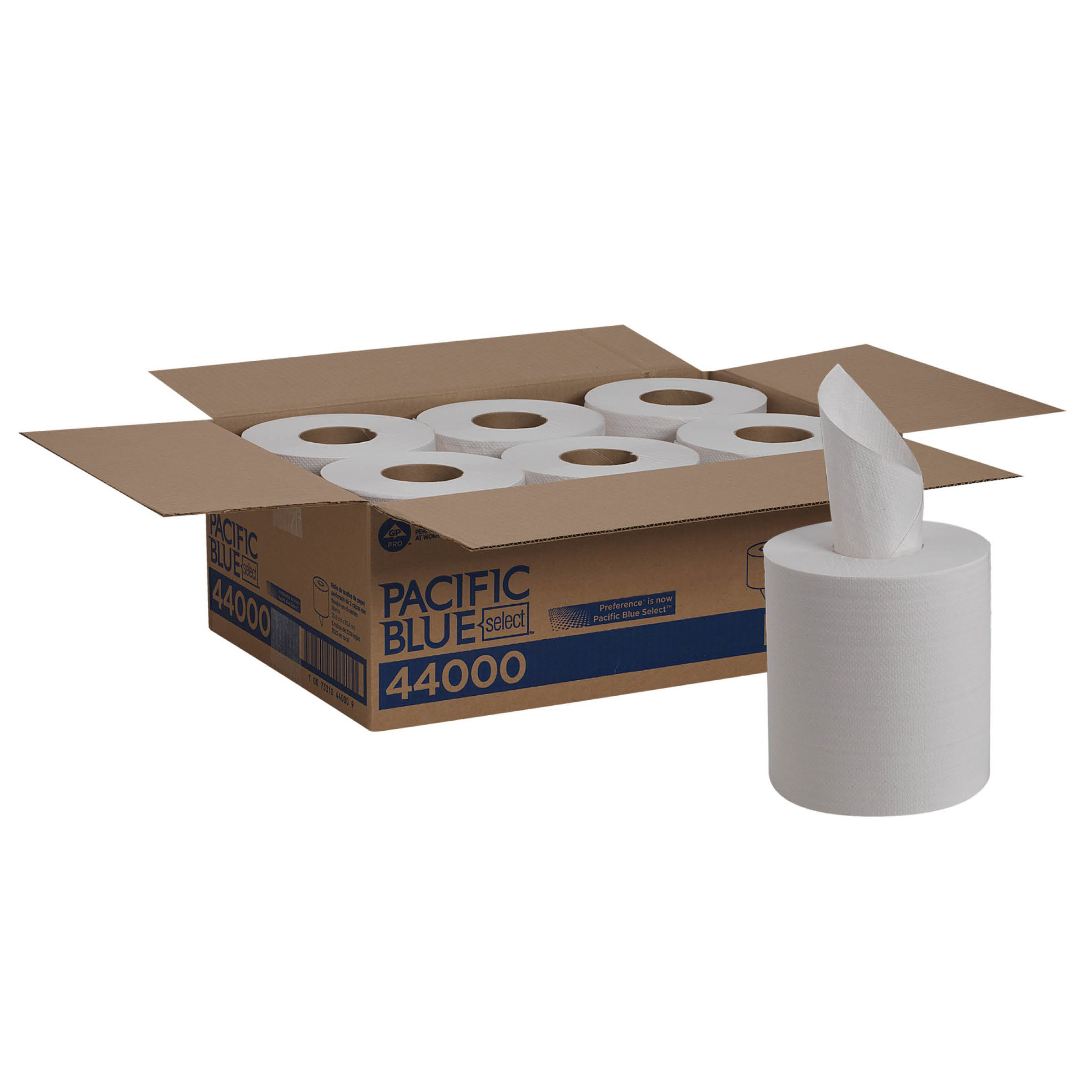 Pacific Blue Select Centerpull 2-Ply Paper Towel (previously branded Preference) by GP PRO; White, 44000; 520 sheets per roll, 6 rolls per case