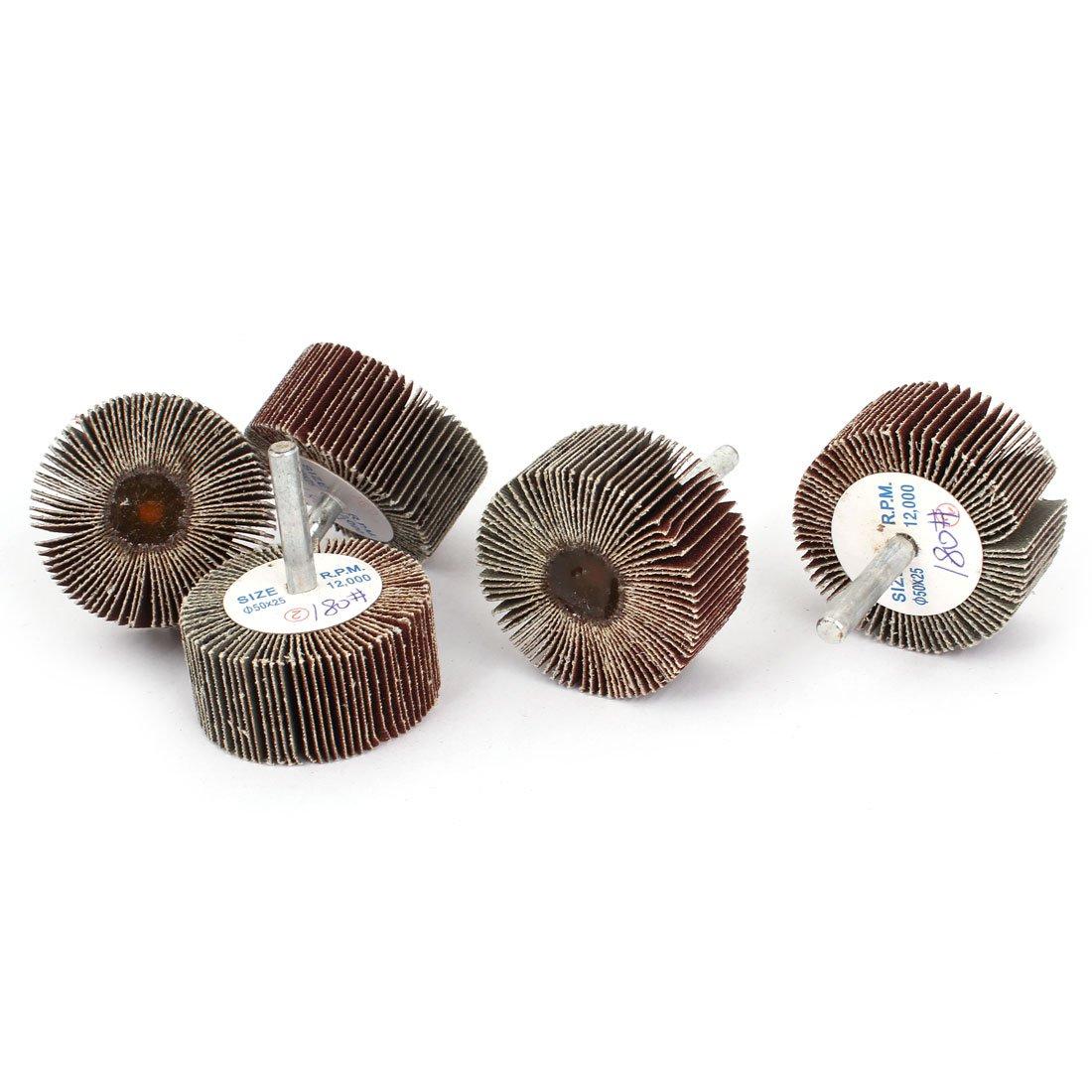 sourcingmap® 50mm x 25mm x 6mm 180 Grit Emery Cloth Grinding Flap Wheel Discs 5pcs a14112100ux0420