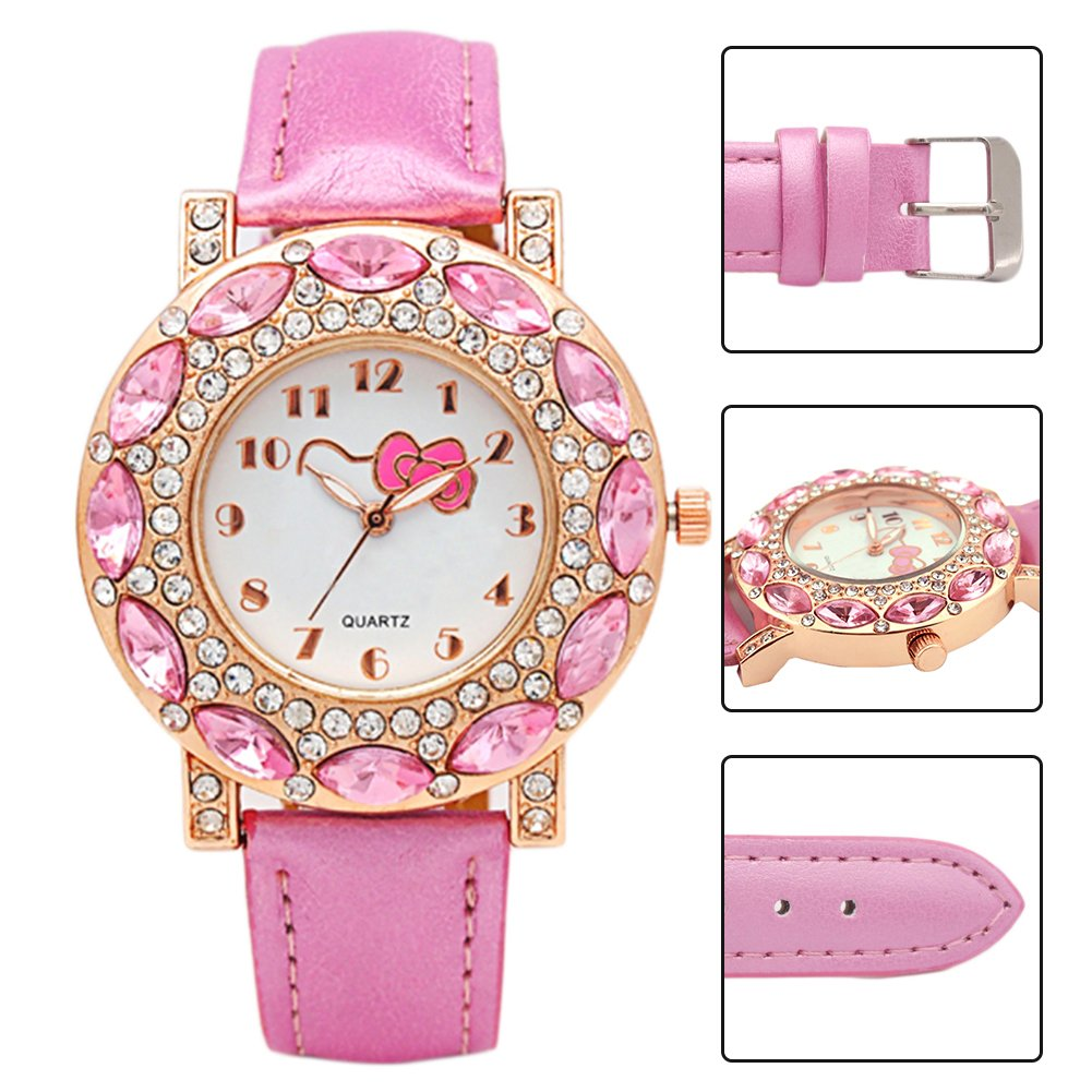 3900fbf64 Amazon.com: Kids Watches Girls Wrist Watches Quartz Fashion Watch Cute  Hello Kitty Steel 3 Colors Pretty Birthday Gift Enrollment Graduation  (Pink): Health ...