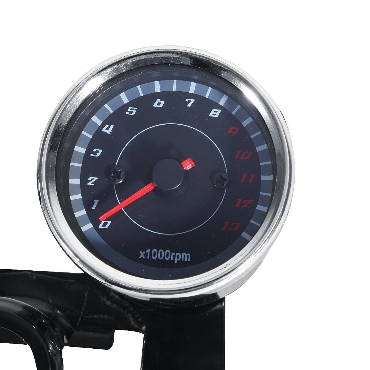 INNOGLOW Motorcycle Backlit Speedometer Tachometer Kit with Bracket,High Capacity Scale,Full-Sweep red Index,0-13000RPM,0-180km/h by INNOGLOW (Image #4)